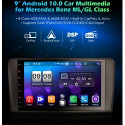 Autoradio Android 10 / CARPLAY   9 inch GPS Mercedes ML W164 et GL X164 de 2005 à 2012