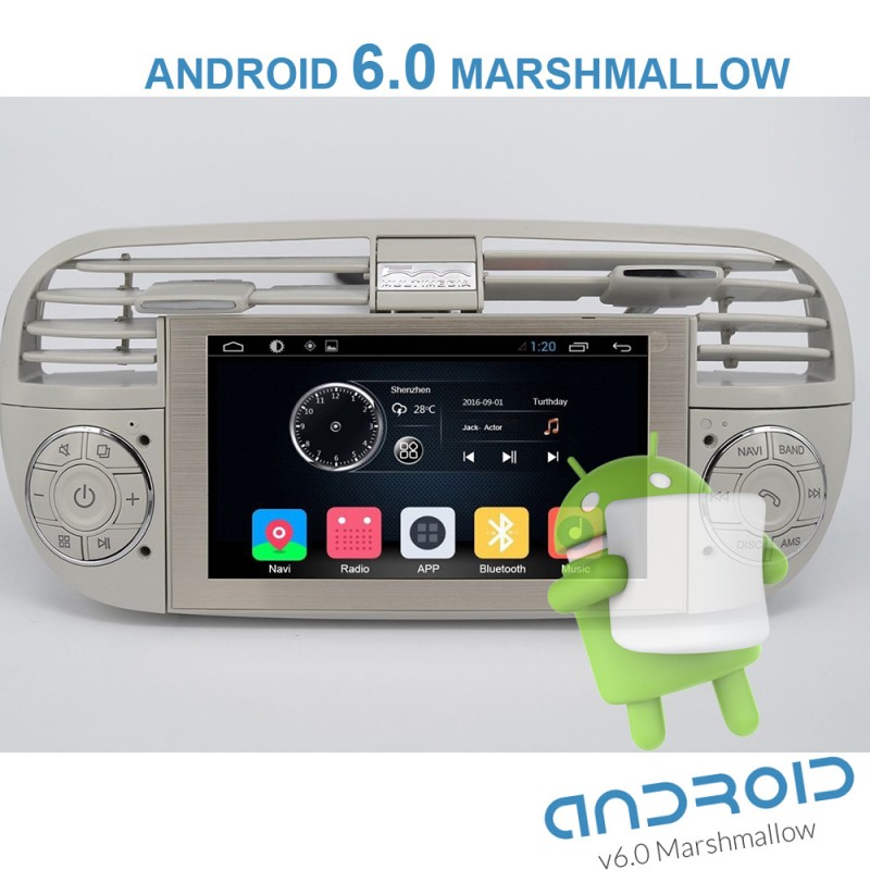 autoradio gps fiat 500 blanc android 6 0 gpsdiscount. Black Bedroom Furniture Sets. Home Design Ideas