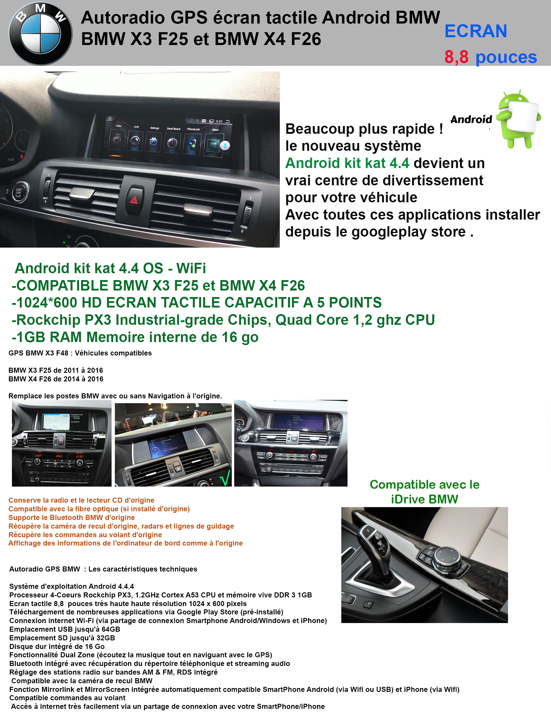 autoradio gps android bmw x3 f25 et x4 f26 gpsdiscount. Black Bedroom Furniture Sets. Home Design Ideas
