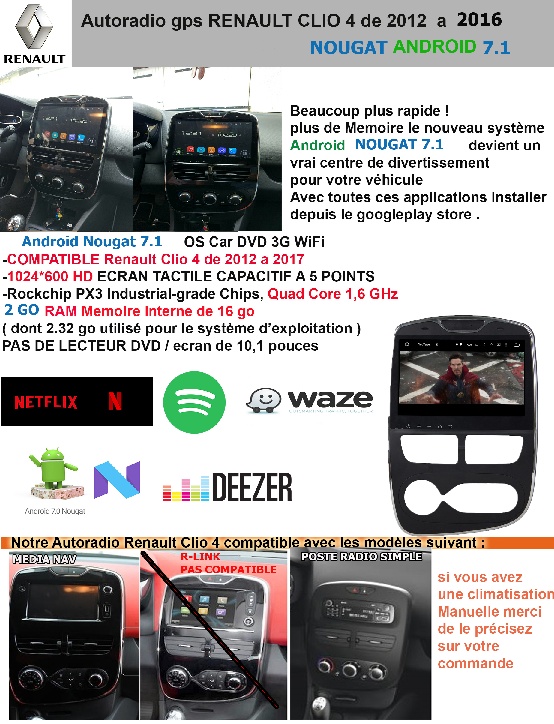 autoradio gps renault clio 4 android 7 1 gpsdiscount. Black Bedroom Furniture Sets. Home Design Ideas